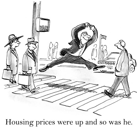 nasdaq: Housing prices were up and so was he. Stock Photo