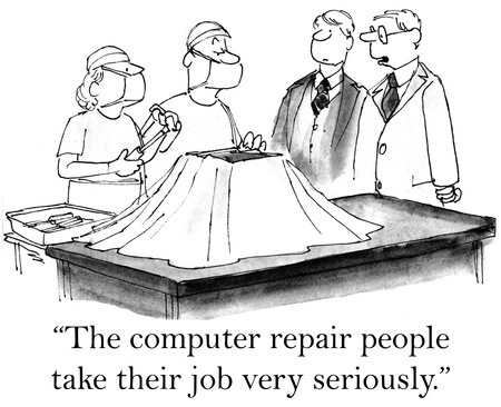 computer repair: These computer repair people certainly take their jobs seriously.