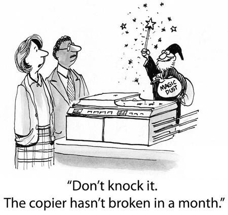 fotocopiadora: No lo golpee. La copiadora no se ha roto en un mes. Foto de archivo