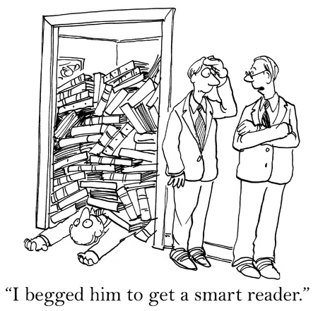 librarian: I begged him to get a smart reader. Stock Photo