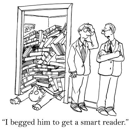 Ik smeekte hem om een slimme lezer te krijgen. Stockfoto