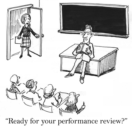 review: Ready for your performance review with tired teacher Stock Photo
