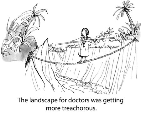doctor cartoon: Doctor is trying to negotiate all the many rules and requirements of the many health insurance plans.