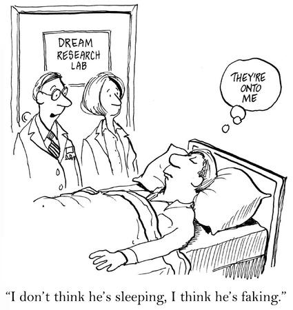 L'uomo è in un laboratorio di ricerca sogno e si suppone di dormire, ma il dottore dice al suo assistente, non credo che dorme. Penso che è solo fingendo. Archivio Fotografico - 16915937