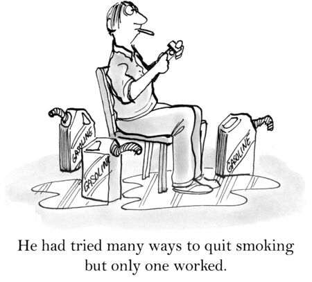 quit smoking: Man has tried everything to quit smoking and cant so he comes to a disastrous conclusion. Stock Photo