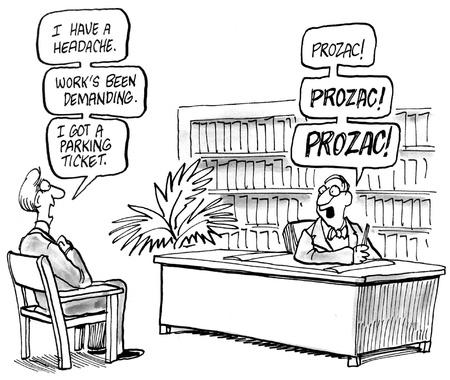 medico caricatura: Prozac es la respuesta del m�dico para todo.