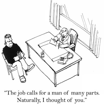 cartoon worker: El trabajo requiere un hombre de muchas partes. Foto de archivo