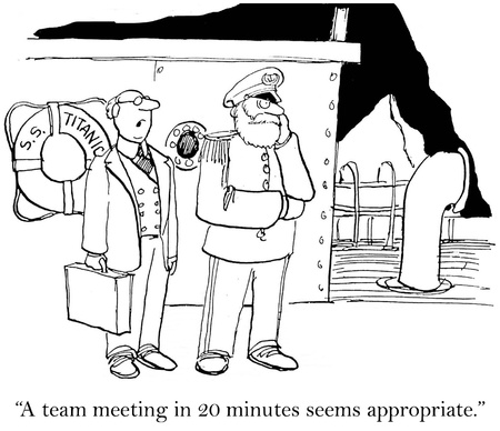 teammates: A team meeting in 20 minutes seems appropriate. Stock Photo