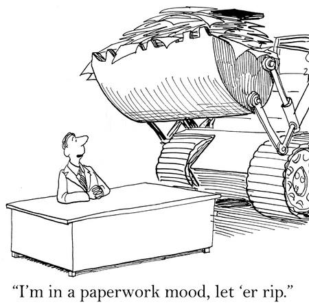 """medico caricatura: """"Estoy en un estado de �nimo papeleo, vamos a er rip '"""
