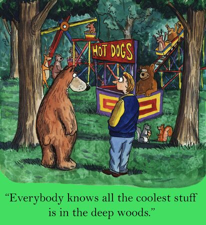 knows: Everybody knows all the coolest stuff is in the deep woods   Stock Photo