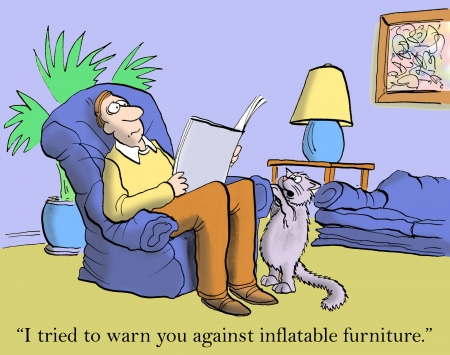 I sent you a memo about no inflatable furniture. photo