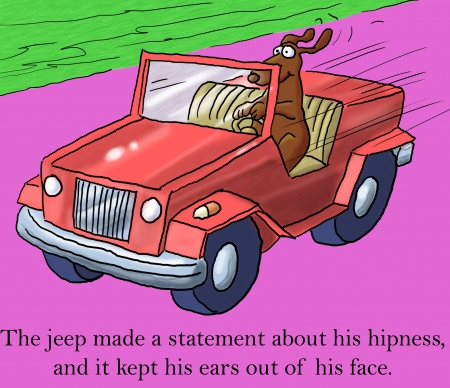 The jeep made a statement about his hipness, and it kept his ears out of his face. Stock Photo