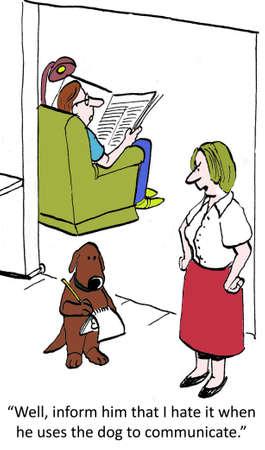 dislike it: Inform him I dislike it when he uses the dog to communicate. Stock Photo
