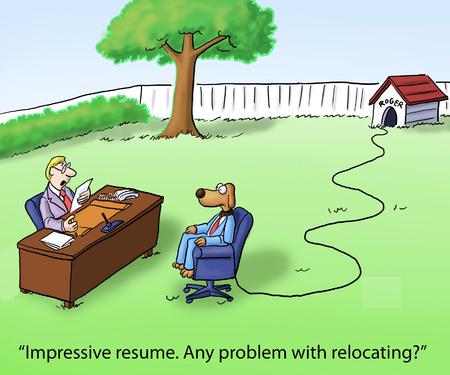 """retained: """"Impresionante currículum. Cualquier problema con la reubicación?"""" perro Foto de archivo"""