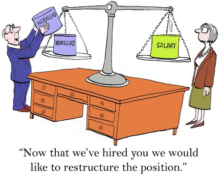 Now that weve hired you wed like to restructure the position. Stock Photo