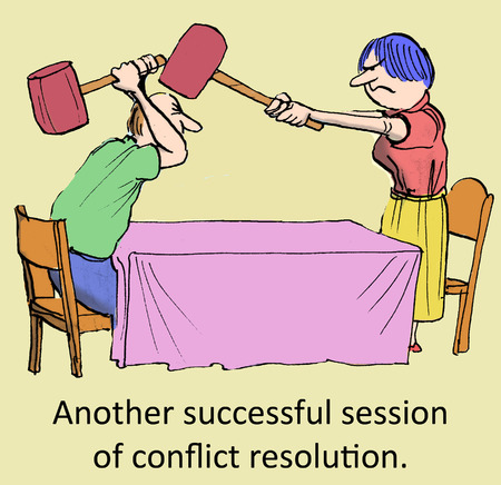 humor: Another successful session of conflict resolution  Stock Photo