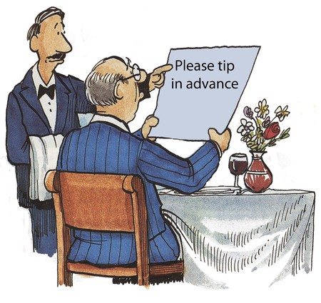 fine tip: Please tip in advance Stock Photo