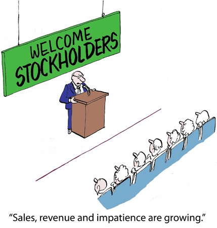 stockholders:  Sales, revenue and impatience are growing   Stock Photo