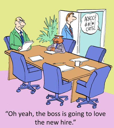 boardroom meeting:  Oh yeah, the boss is going to love the new guy