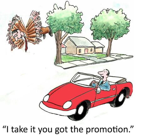 I take it you got the promotion   Stock Photo