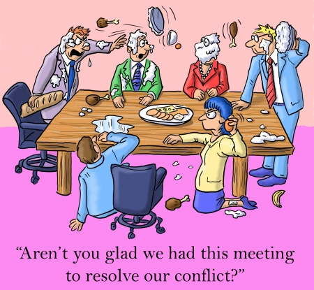 cartoon businessman: Arent you glad we had this meeting to resolve our conflict?