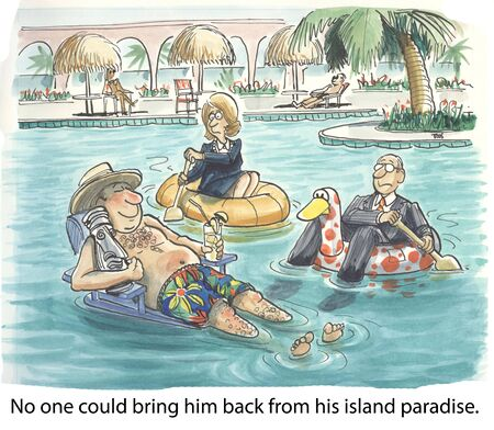 office politics: No one could bring him back from his island paraside  Stock Photo