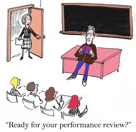 Ready for your performance review with tired teacher Stock Photo