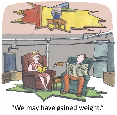 mismatch:  I think we may have gained some weight   Stock Photo