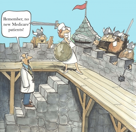 misunderstanding:  Remember, no new medicare patients   Stock Photo