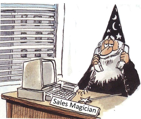 Sales magician at desk