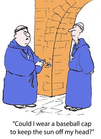 두 명의 승려, 햇볕에 타기