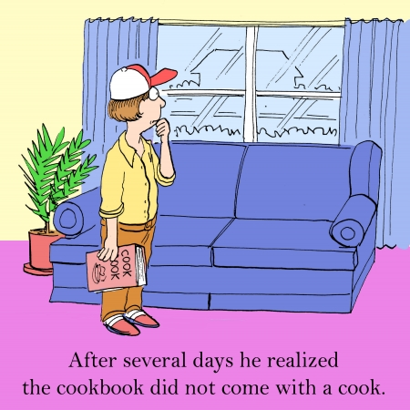 syndicated: After several days he realized the cookbook did not come with a cook. Stock Photo