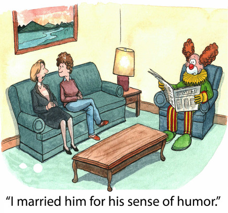 confide:  I married him for his sense of humor   Stock Photo