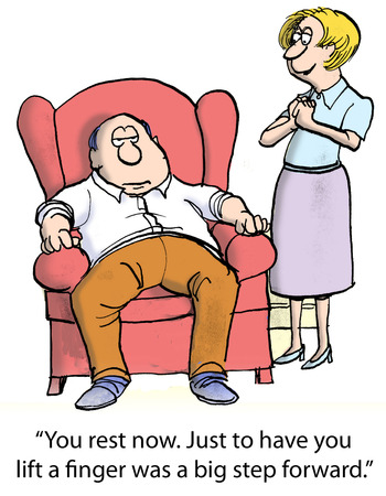 newspaper cartoons: You rest now. Just to have you lift a finger was a big step forward. Stock Photo