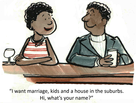 reclining:  I want marriage, kids and a house in the suburbs   Stock Photo