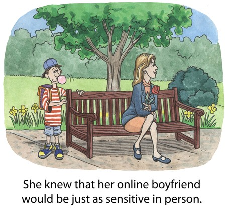 knew: She knew that her online boyfriend would be just as sensitive in person  Stock Photo