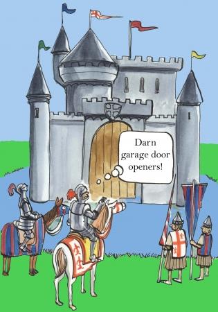 The garage door will not open the moat bridge
