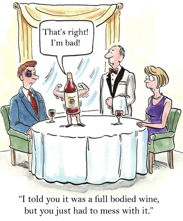 had:  I told you it was a full bodied wine, but you just had to mess with it   Stock Photo