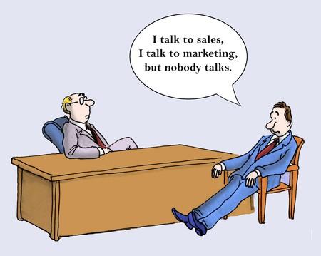 conversa: Hablo con las ventas, hablo con el marketing, pero nadie habla Foto de archivo