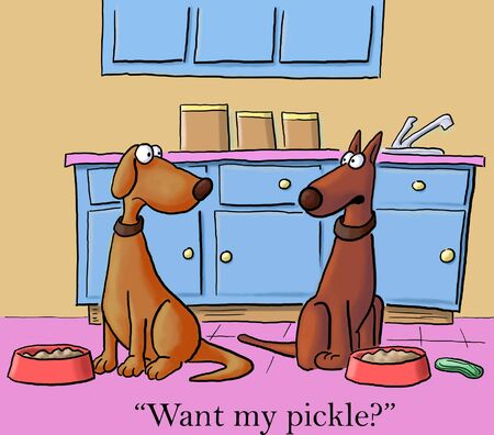 Want my pickle   one dog to another