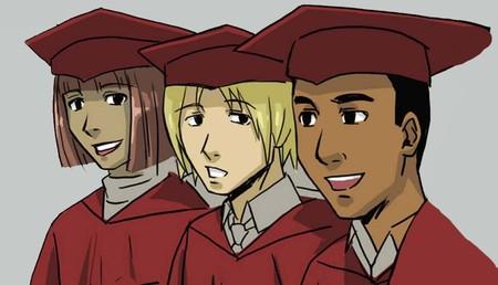 Three smiling graduates Stock Photo