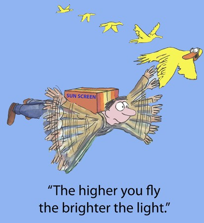 brighter:  The higher you fly, the brighter the light