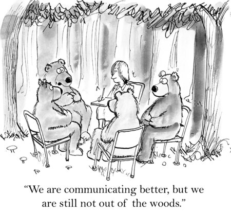 but:  We are communicating better, but we are still not out of the woods   Stock Photo