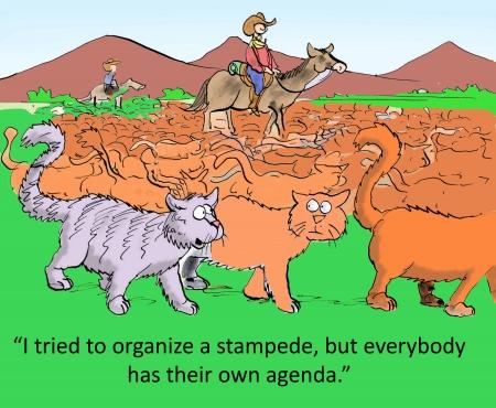 Ich habe versucht, eine Massenpanik zu organisieren, aber jeder hat seine eigene Agenda Standard-Bild - 24082442