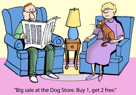 newspaper cartoons:  Big sale at the Dog Store  Buy 1, get 2 free   Stock Photo