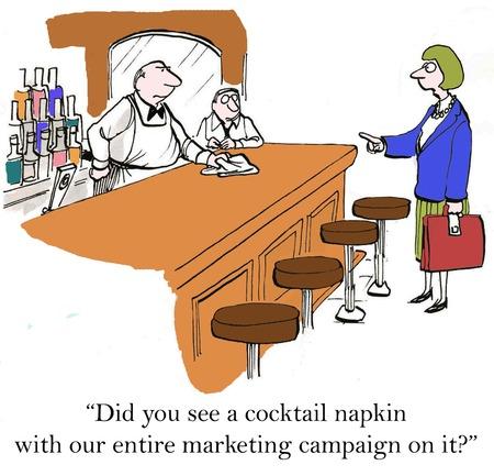 """'Heb je een servetje zien met onze hele marketing campagne op het? """" Stockfoto"""