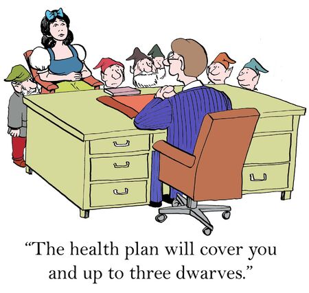 cover up: The health plan will cover you and up to three dwarves. Stock Photo