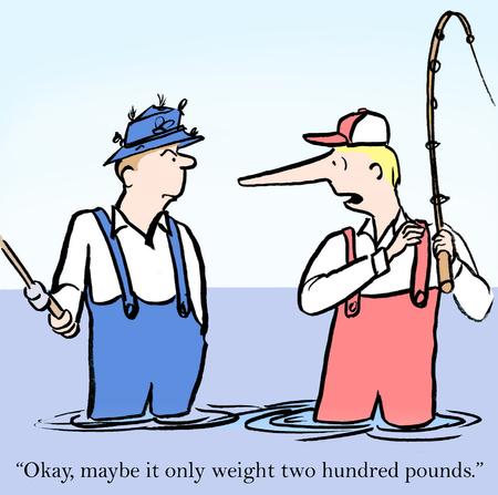 """peces caricatura: """"Ok, tal vez es sólo pesaba 200 libras."""""""
