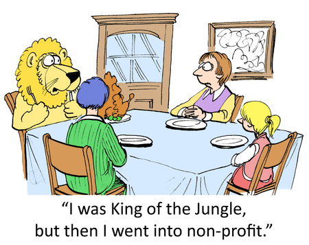newspaper cartoons: I was King of the Jungle, but then I went into non profits. Stock Photo