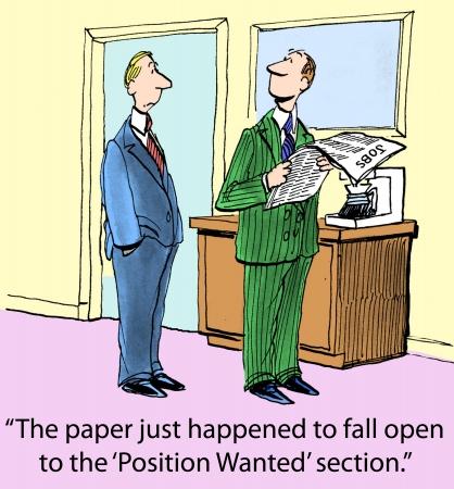 Het papier was toevallig open voor het standpunt vallen Wanted sectie Stockfoto - 24368626